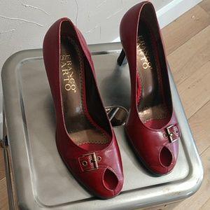 Franco Sarto Heels   Leather   Peep-Toe   Buckle